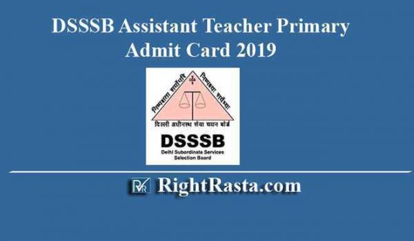 DSSSB Assistant Teacher Primary Admit Card