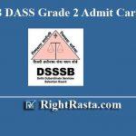 DSSSB DASS Grade 2 Admit Card 2019