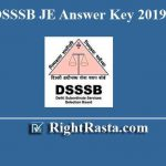 DSSSB JE Answer Key 2019