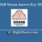 DSSSB Mason Answer Key 2019