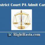 Delhi District Court PA Admit Card 2019