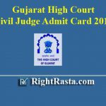 Gujarat High Court Civil Judge Admit Card 2019