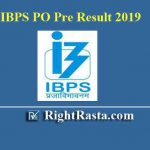 IBPS PO Pre Result With Marks 2019