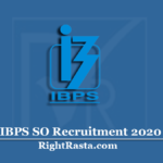 IBPS SO Recruitment 2020 | Apply Online Form for Specialist Officer