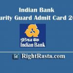 Indian Bank Security Guard Admit Card 2019 | Download Peon, Sub Staff Hall Ticket