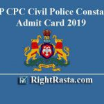 KSP CPC Civil Police Constable Admit Card 2019