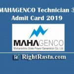 MAHAGENCO Technician 3 Admit Card 2019