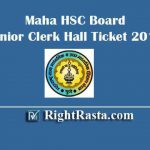 Maha HSC Board Junior Clerk Hall Ticket 2019