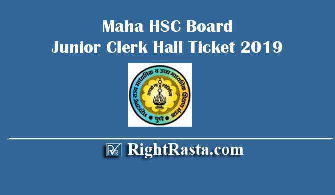 Maha HSSC Board Junior Clerk Hall Ticket 2019