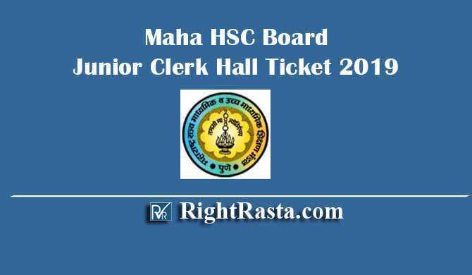 Maha HSSC Board Junior Clerk Hall Ticket 2019