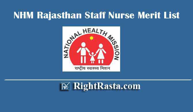 NHM Rajasthan Staff Nurse Merit List