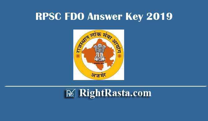 RPSC FDO Answer Key 2019