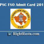 RPSC FSO Admit Card 2019