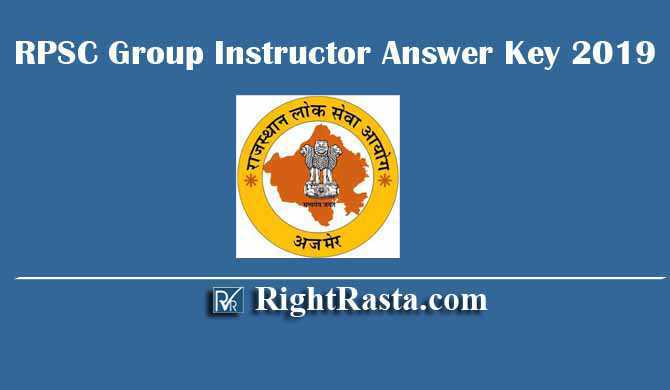 RPSC Group Instructor Answer Key 2019