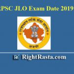 RPSC JLO Exam Date 2019