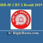 RRB JE CBT 2 Result With Score Card (Zone Wise Links)