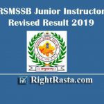 RSMSSB Junior Instructor Revised Result 2019