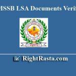 RSMSSB LSA Documents Verification List 2019