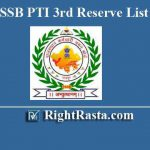RSMSSB PTI 3rd Revised List 2019