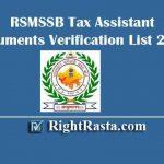 RSMSSB Tax Assistant Document Verification List 2019 | TA DV Date/Schedule Out