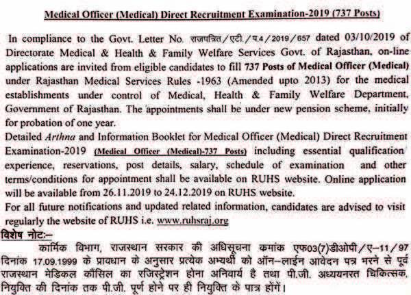 RUHS Medical Officer Recruitment Notice