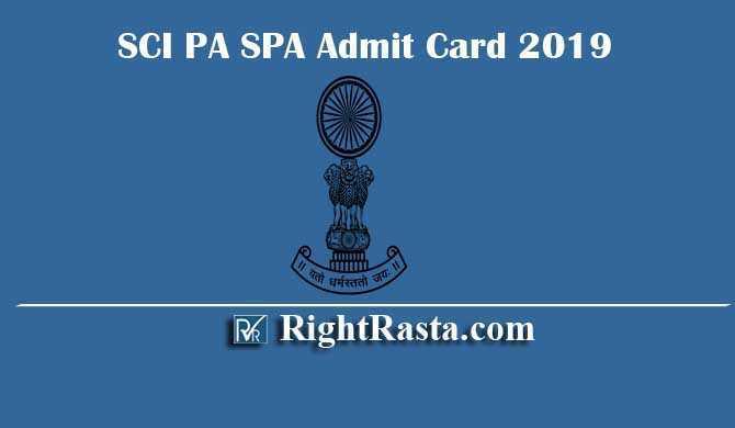 SCI PA SPA Admit Card 2019