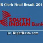 SIB Clerk Final Result 2019