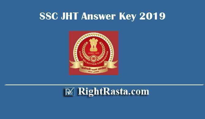 SSC JHT Junior Hindi Translator Answer Key 2019