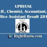 UPRVUNL JE Chemist Accountant Office Assistant Result 2019