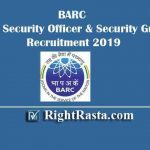 BARC Security Officer & Guard Recruitment 2019