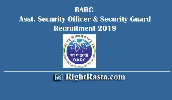 BARC Security Officer Guard Recruitment 2019