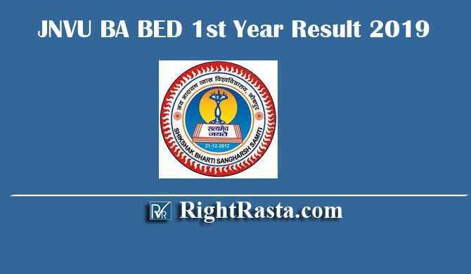 JNVU BA BED 1st Year Result 2019