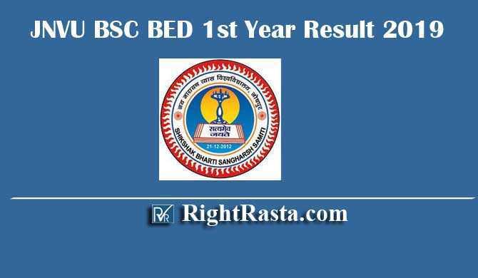 JNVU BSC BED 1st Year Result 2019