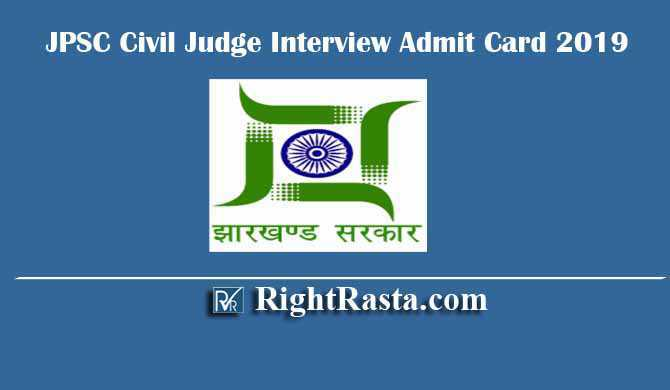 JPSC Civil Judge Interview Admit Card Call Letter 2019