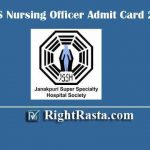 JSSHS Nursing Officer Admit Card 2019 | Download Staff Nurse Nursing Staff Exam Hall Ticket @ jsshs.org