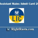 LIC Assistant Mains Admit Card 2019