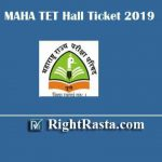 MAHA TET Hall Ticket 2019 | Download Maharashtra MTET Admit Card 2020 @ mahatet.in//TET2019