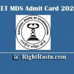 NEET MDS Admit Card 2020