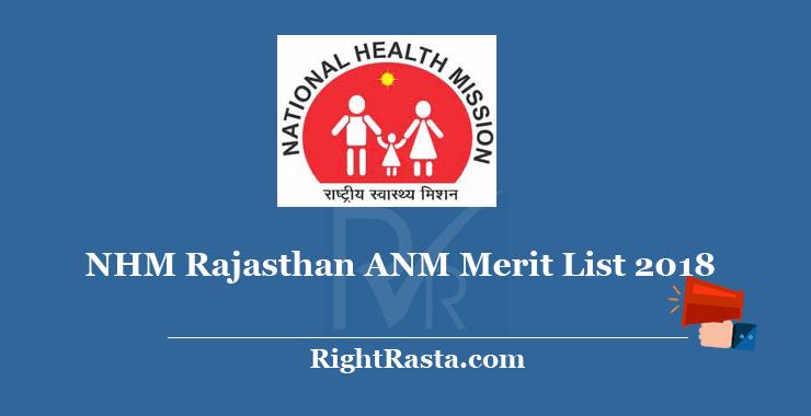 NHM Rajasthan ANM Merit List 2018