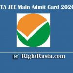 NTA JEE Main Admit Card 2020