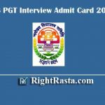 NVS PGT Interview Admit Card 2019
