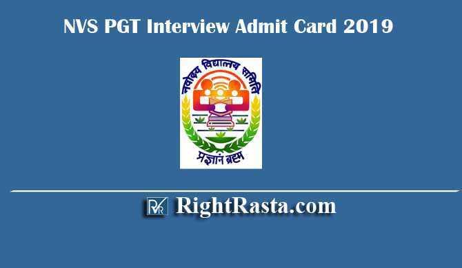 NVS PGT Interview Admit Card 2019