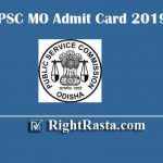 OPSC MO Admit Card 2019 | Download Odisha PSC Medical Officer Hall Ticket