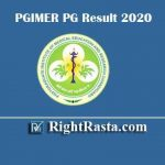 PGIMER PG Result 2020 | Download PGI Chandigarh MD/MS Entrance Exam Results