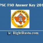 RPSC FSO Answer Key 2019 - Download Rajasthan PSC Food Safety Officer Exam Key PDF