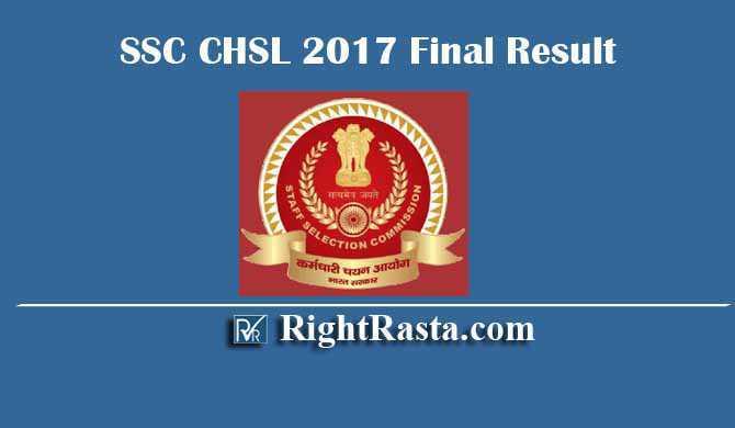 SSC CHSL 2017 Final Result