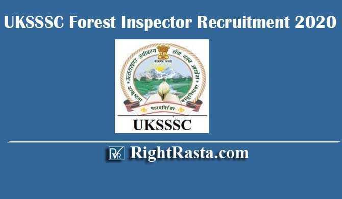 UKSSSC Forest Inspector Recruitment 2020