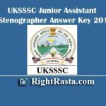 UKSSSC Junior Assistant Stenographer Answer Key 2019