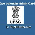 UPSC Geo Scientist Admit Card 2020 | Download UPSC Geologist Admit Card @ upsc.gov.in