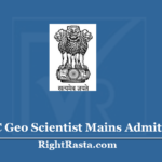UPSC Geo Scientist Mains Admit Card 2020 (Out) - Download Geologist Hall Ticket